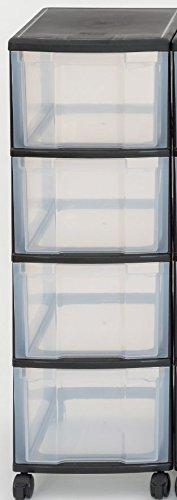 Unbekannt IRIS Schubladenbox mit Rollen schwarz/transparent (4 große) - Schubladenschrank...