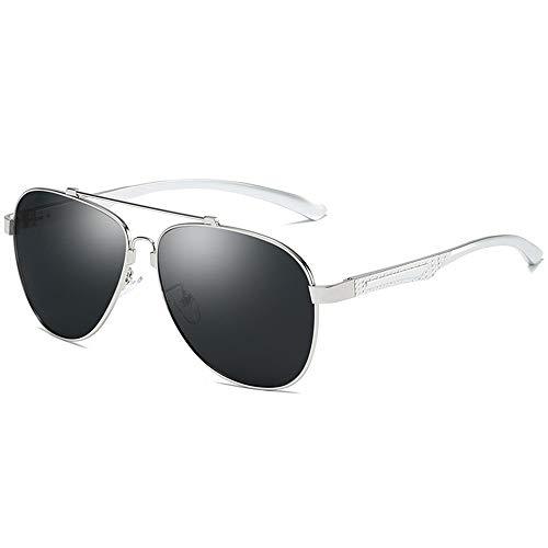 Yiph-Sunglass Sonnenbrillen Mode Aluminium Magnesium Bein Gedächtnisrahmen Polarisierte Farbfilm Spiegel Kunstharz Sonnenbrille Blau Film Outdoor Fahren Sonnenbrille für Herren (Color : Silver+Gray)