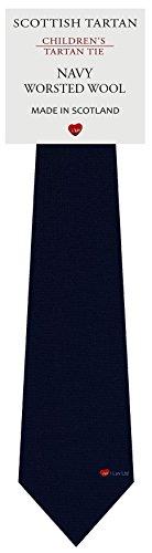 I Luv Ltd Garçon Tout Cravate en Laine Tissé et Fabriqué en Ecosse à Plain Navy Blue