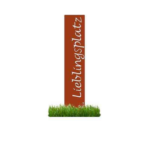 prima terra'Lieblingsplatz' Gartenstele Edelrost Stele Dekoration Gartendekoration Deko Garten H=120cm B=20cm