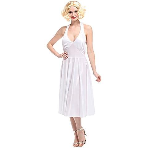 V-SOL Disfraz 60s Vestido Cabestro Blanco Cosplay Para Halloween Asia M Busto más de 88cm
