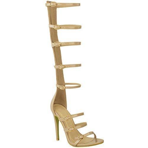 Nuovo Da Donna Al Ginocchio Tacco Alto Sandali Stile Gladiatore Con Bretelline Celebrità Cage Romano Misura - Color Carne Vernice, 38