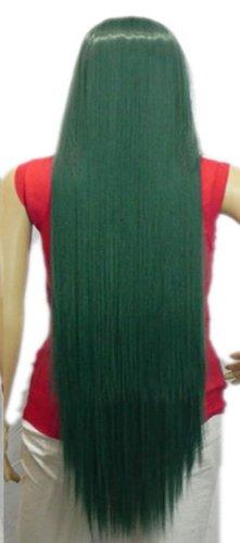 QIYUN.Z Haarteile Damen Perücken Extra Lange Frauen Gerade Kostüm Halloween-Kostüm Anime- Kunsthaar Volle Perücke - (Perücken Kostüme Dunkelgrün)