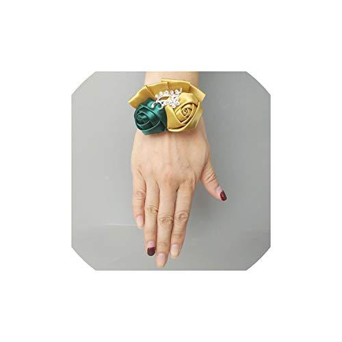 / Lot HandgelenkCorsage Goldfarbe künstliche Rose Handgelenk Blume Braut Brautjungfer Wedding Bouquet, 7Cm von 5Cm ()