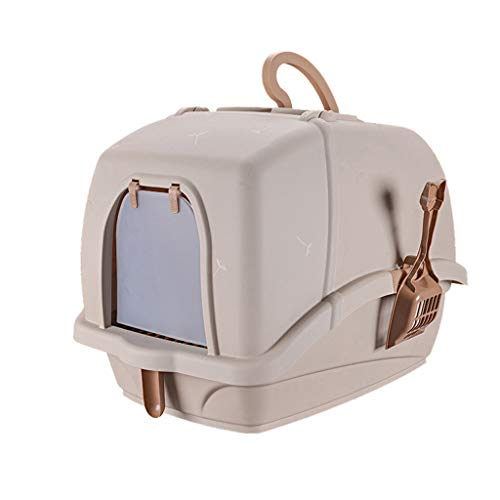 Welhome Cat Litter Box Jumbo, Petlife Cat Toilet, Hooded Cat Litter Box, PP Resin Litter Tray, Fully Enclosed Cat Kitty Litter Pan, for Cat oder Dog Use Pots,Brown,A