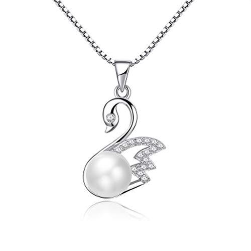FASBHI Perlenanhänger, Schmuck 925 Silber Element Temperament einfache natürliche Perle Schwan Anhänger ohne Kette, geeignet für Kinder Damen und Mädchen