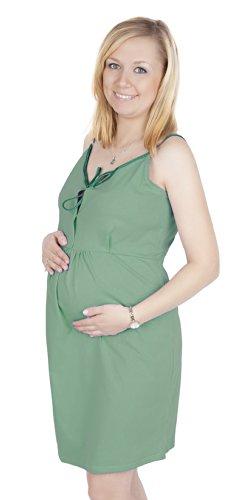 Mija - 2 en 1 Maternité / allaitement 100% coton robe de nuit 3050 (EU 36/38, Vert foncé)