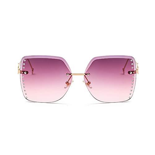 Li Kun Peng Sonnenbrille Rahmenlos Besetzt Mit Diamanten Aus Metall. Leicht Zu Waschende Sonnenbrille Mit UV-Schutz,D