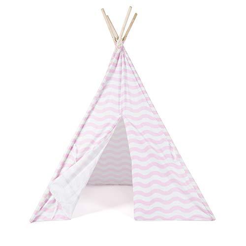 boppi® Teepee Großes Spielzelt für Draußen und Drinnen, tragbar, aus Holz und Zelttuch, Indianerwigwam für Kinder, Spielhaus für Jungs und Mädchen - Rosa