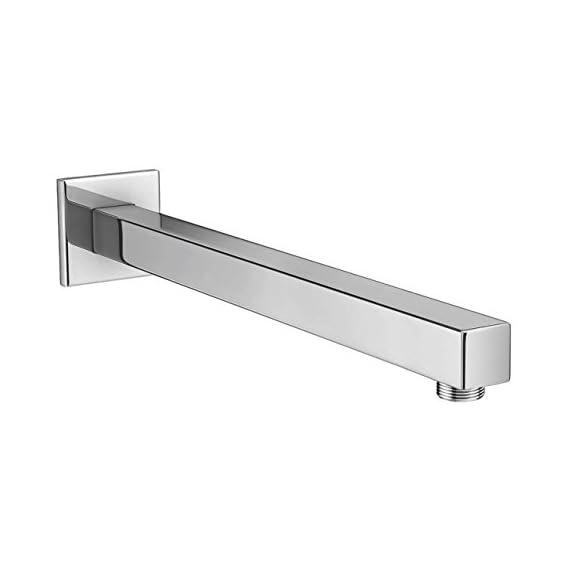 Drizzle 12 Inch Square Shower Arm/Bathroom Overhead Shower Arm/Rain Shower Rod