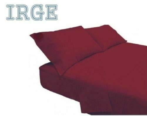 Irge lenzuola cotone puro 100% matrimoniale tinta unita sotto sopra 2 federe vari colori (bordeaux)