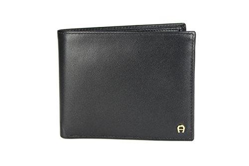 Aigner Portemonnaie Geldbörse Portmonee 152679 Querformat schwarz