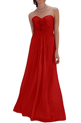 Toscana sposa dall'effetto a forma di cuore a forma di fiore abiti da sposa giovane Chiffon la sera per lontano un'ampia Party ball vestimento Rosso