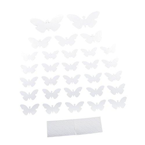 Gazechimp 3D Spiegel Wandaufkleber Wandtatoo, Wohnzimmer Deko - 30× Schmetterling-Silber