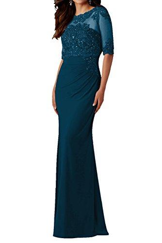 Charmant Damen Elegant Weinrot Abendkleid Lang mit Spitze Damen Festlich Chiffon Ballkleider mit Langarm Tinte Blau