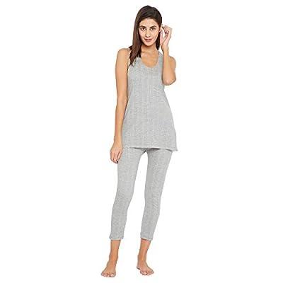 VIMAL JONNEY Thermal Light Grey Slip Sleeveless Top and Lower Set for Women (SETthermal_SlipMlng_01-P)