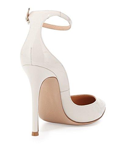 EDEFS - Escarpins Femme - Brillant Coupé Chaussure - Cheville Boucle - Talon Aiguille - Bout pointu fermé Blanc