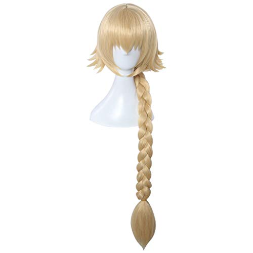 KHJK Haarstyling Fate/Grand Order (Jeanne d'Arc) Anime Cosplay Rose Net Perücken mit Pony 100% Hochtemperaturbeständige Faser Gold Lange Gerade Geflochtene Zopfhaar 36inches Saloneinrichtung -