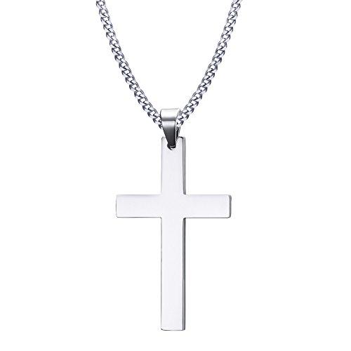 Kreuz Anhänger Edelstahl Kreuzanhänger mit 55cm Halskette für Herren Damen Frauen,silber schwarz gold (silber) (silber(klein)) (Kreuze Anhänger)