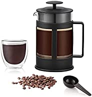 ماكينة تحضير القهوة الفرنسية (800 مل) بابريق قهوة مصنوع من الزجاج البورسليكات عالي الجودة، فلتر قهوة وشاي من ا