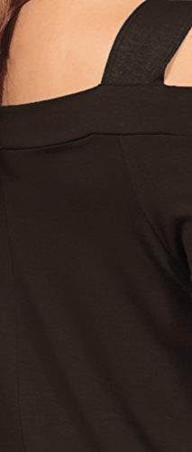 Hot from Hollywood Top tunique large soutien manches longues asymétriques Chocolate Brun