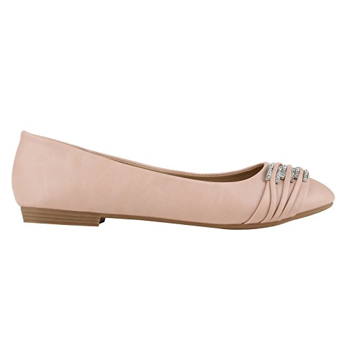 Klassische Damen Strass Ballerinas Elegante Slipper| Übergrößen Metallic Glitzer Flats Schuhe 141942 Apricot 40 | Flandell®