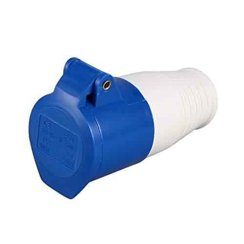 Noradtjcca Blau 240V 16 Amp 3 PIN Industriestandort Stecker & Wandsteckdose Wasserdicht IP44 Steckverbinder Buchse 2P + Erde Stecker/Buchse