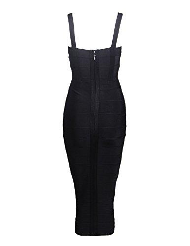 Meilun Les Femmes Bodycon Rayonne Sangle Robe Sans Manches. Noir 1