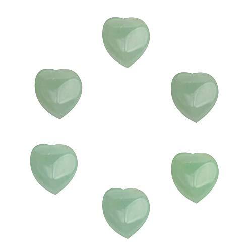 SKYBEADS Aventurin Cabochon Herz zum Auffädeln 15 * 18mm Natürliche Grüner Halbedelsteine Flacher Unterseite Herzen pro 6 Stück Ohne Loch -