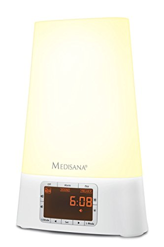 Medisana WL 460 Radio Reveil Lumière Lampe Matin - Sonore et Lumineux avec Simulation Lever/Coucher du Soleil et Fonction Snooze, 8 Sonneries Naturelles, Radio FM & MP3 - fonction snooze - 45115