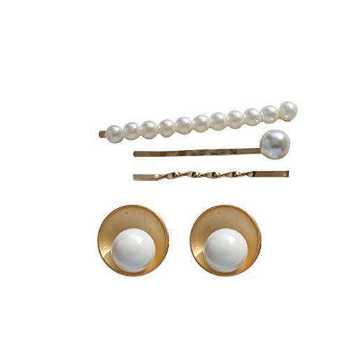 te Muschel Perle Ohrringe Clip Damen Haarspange Schmuck Kombination(Größe als Erscheinen, Gold) ()