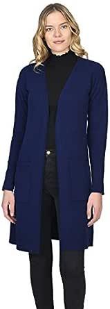 State Cashmere Donna 100% Puro Cashmere Cardigan Lungo Aperto