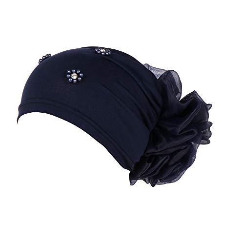 Stirnband Damen, DAY.LIN Damen Baumwolle Chemo Schal Hut Turban Bandana Kopf Schals elastische Haarband Kopfband Weich Turban Stirnband für Alltag Yoga Sport Fitness ! Chemotherapie Deckel (Marine, 1)