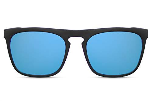 Cheapass Sonnenbrille Verspiegelt Matt-Schwarz Blau UV-400 Sport-lich Schnell Plastik Damen Herren