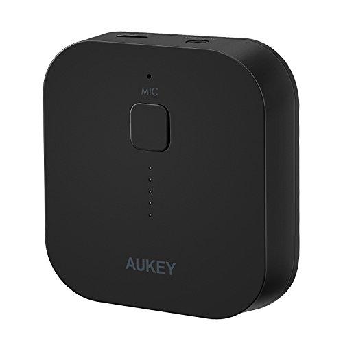 AUKEY Bluetooth Empfänger Tragbare Drahtlos Bluetooth 3.0 Receiver Wireless Adapter Audiogeräte für Heim HiFi Auto Lautsprechersystem und Handy mit Stereo 3.5 mm Aux
