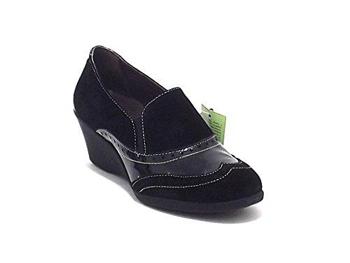 Scarpe donna, 8021, scarpa accollata Susimoda in camoscio e vernice, colore nero