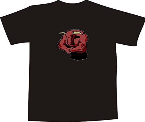 T-Shirt E994 Schönes T-Shirt mit farbigem Brustaufdruck - Logo / Grafik - Comic Design - wütender starker Stier mit großen Hörnern Weiß