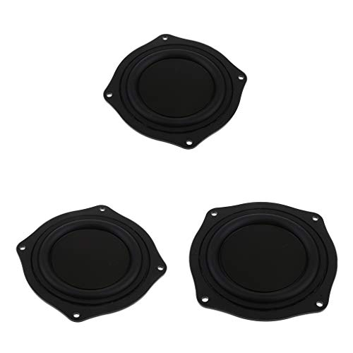 FLAMEER 3pcs 4 Zoll Bass Lautsprecher Passiv Gummi Vibrationsplatte Bass Membran Passiv Board DIY, 11.4x11.4x1.3cm