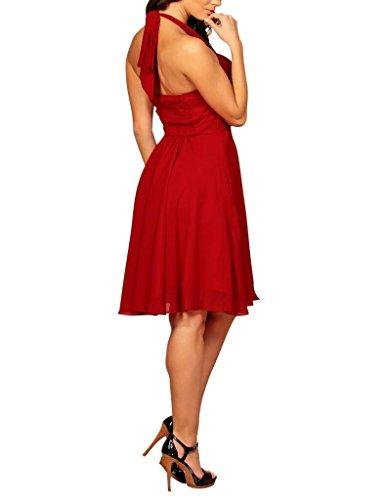 My Evening Dress- Robe de Soirée en Mousseline de Soie Habillée pour Cocktail et fête rouge bordeaux