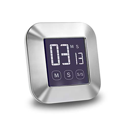 E-More Küchenuhr Timer, Touchscreen Digitaler Küchentimer, Kurzzeitmesser Küche Magnetischer Elektronischer Zeitschaltuhr und Stoppuhr Schallendem Alarm mit LCD Display