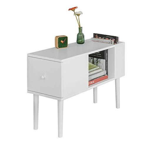 SoBuy FBT60-W,ES Mesa Auxiliar con 1 Cajón y 2 Huecos, Tabla de Consola,L75 x H51cm,Blanco