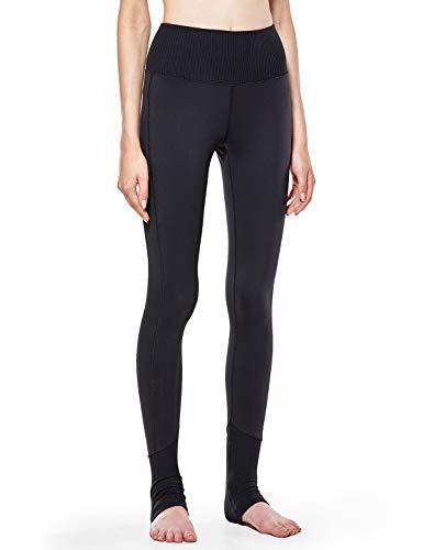 CRZ YOGA Damen Hohe Taille Leggings Elastisches Band Gerippt Sporthose,Lässige Leggings-73cm Schwarz M(40)