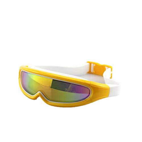 LPcool Taucherbrille,Outdoor Unisex Große Rahmen Bunte Überzogene Schutzbrillen Wasserdichte Anti-Fog-Silikon Schwimmen, Gelb