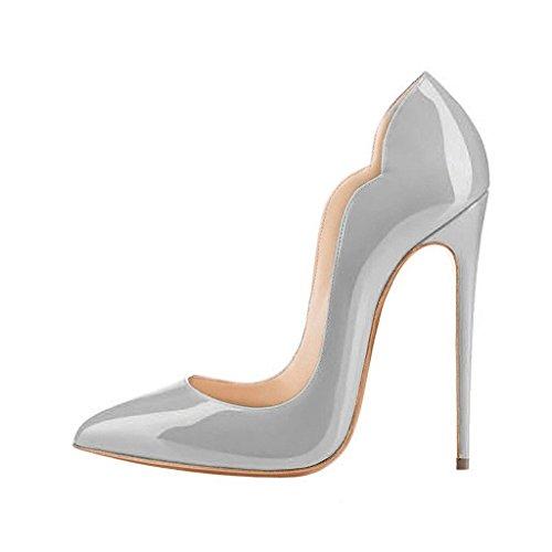 EDEFS Damen Spitze Zehe Schuhe 120mm High Heel Pumps Hohen Absätzen Geschlossen Abendschuhe LackGrau