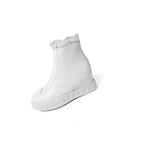 ZQ@QX In autunno e in inverno, testa tonda con una base piana di spessore aumentato entro il pizzo elegante bare stivali Donna stivali white