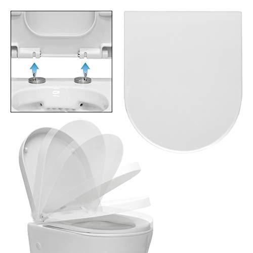 ECD Germany Premium Duroplast Toilettendeckel mit Soft-Close - Absenkautomatik - Weiß - Abnehmbar - Antibakterielle Beschichtung - WC Deckel Toilettensitz Klodeckel