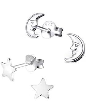 SL-Silver Set aus Kinderohrringen Mond und Stern 925 Silber in Geschenkbox