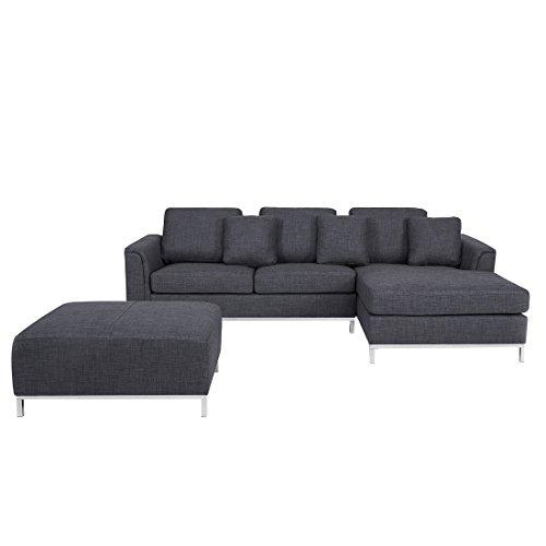 Beliani Designersofa - Polstersofa - Sofa - Couch - Ecksofa L - Eckcouch, grau - Oslo
