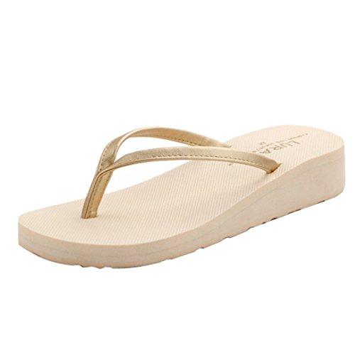Baymate Sandali Da Donna Zeppa Piattaforma Infradito Spiaggia Pantofole Beige