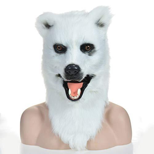 MUJUN Weißer Bär Kopf Maske, Maskerade Halloween Karneval Geburtstagsfeier Kostüm Realistische handgemachte angepasste Tier Cosplay beweglichen Mund mit Fell verziert (Color : White, Size : 25 * 25)